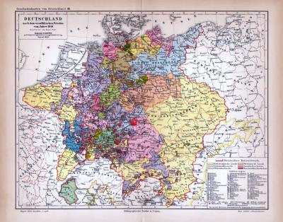 Deutschland Karte Nach dem westfälischen Frieden vom Jahre 1648 ca. 1885 Original der Zeit