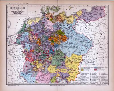 Deutschland Karte Während der Regierungszeit Kaiser Karl IV 1347-1378 ca. 1885 Original der Zeit