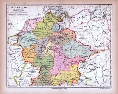 Deutschland Karte Um das Jahr 1000 ca. 1885 Original der Zeit