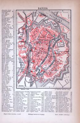Danzig Stadtplan ca. 1885 Original der Zeit