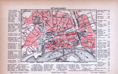 Düsseldorf Stadtplan ca. 1885 Original der Zeit