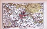 Dresden Umgebung Landkarte ca. 1885 Original der Zeit