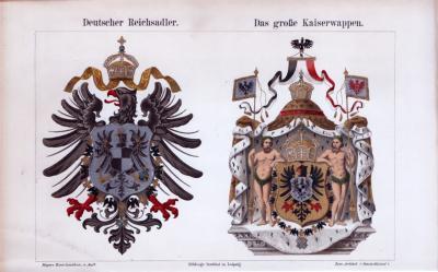Deutscher Reichsadler + Das Große Kaiserwappen ca. 1885 Original der Zeit