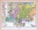Europa Landkarte Völker- und Sprachenkarte ca. 1885 Original der Zeit