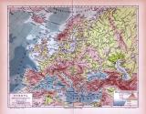 Europa Landkarte Fluß- und Gebirgssysteme ca. 1885 Original der Zeit