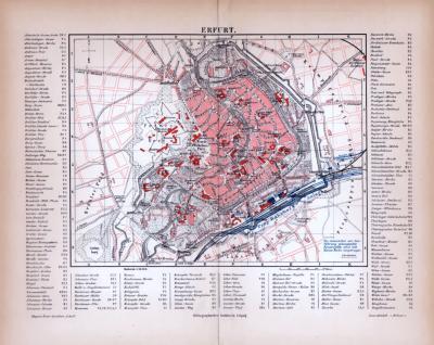Erfurt Stadtplan ca. 1885 Original der Zeit