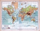 Erdkarte Oro-Hydrographische Übersicht in Mercators Projektion ca. 1885 Original der Zeit