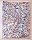 Elsass-Lothringen Landkarte ca. 1885 Original der Zeit