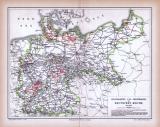 Deutsches Reich Landkarte Staatsbahnen und Privatbahnen ca. 1885 Original der Zeit