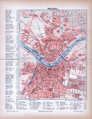 Dresden Stadtplan ca. 1885 Original der Zeit