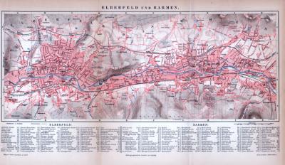 Elberfeld und Barmen Stadtplan ca. 1885 Original der Zeit