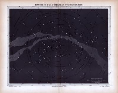 Fixsterne des nördlichen Sternenhimmels ca. 1885 Original der Zeit