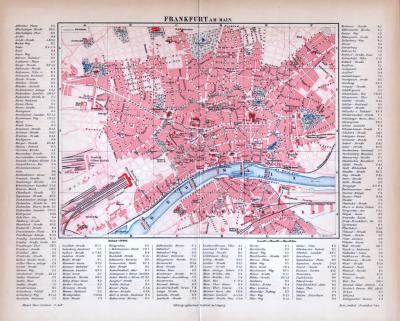 Frankfurt am Main Stadtplan ca. 1885 Original der Zeit