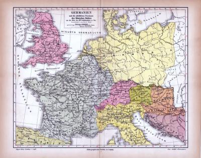 Historische farbig illustrierte Landkarte von Germanien und den nördlichen Provinzen des römischen Reiches  zur Mitte des 2. Jahrhunderts n. Chr..