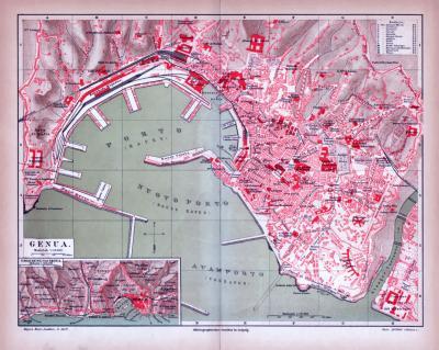 Farbig illustrierter Stadtplan von Genua aus 1885 im Maßstab 1 zu 13.300. Ausschnitt zeigt die Umgebung von Genua im Maßstab 1 zu 125.000.