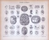 Stich aus 1885 mit 33 Abbildungen von Gemmen und Kameen.