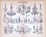 Lithographie aus 1885 zum Thema Glaskunstindustrie zeigt...