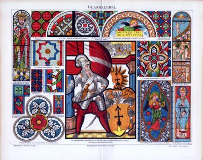Chromolithographie aus 1885 zum Thema Glasmalerei zeigt verschiedene Darstellungen aus christlichem und feudalem Raum.