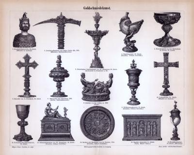Der Stich aus 1885 zeigt 15 mittelalterliche Objekte der Goldschmiedekunst.
