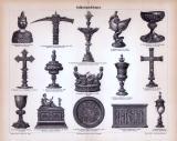 Der Stich aus 1885 zeigt 15 mittelalterliche Objekte der...