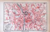 Farbig illustrierter Stadtplan von Graz aus 1885 im Maßstab 1 zu 21.300.