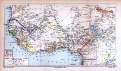 Landkarte von Guinea und Sudan, farbige Lithographie aus 1885.