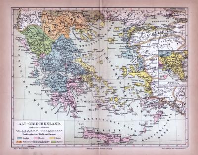 Farbig illustrierte Landkarte aus 1885 zeigt die Verteilung der hellenischen Volksstämme zu Zeiten der Antike. Maßstab 1 zu 3.500.000.