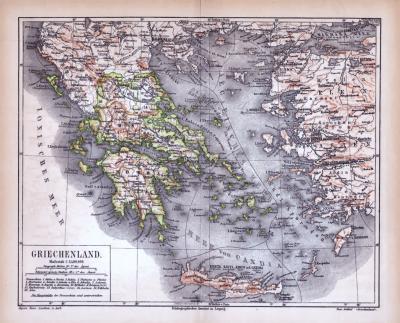 Farbig illustrierte Landkarte aus 1885 von Griechenland im Maßstab 1 zu 3.400.000.