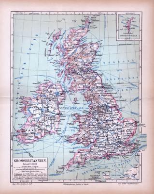 Farbig illustrierte Landkarte von Großbritannien und Irland aus dem Jahr 1885 im Maßstab 1 zu 4.500.000 Millionen. Ausschnitt zeigt die Shetland Inseln.