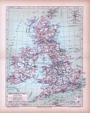 Farbig illustrierte Landkarte von Großbritannien und...