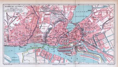 Farbiger Lithographie eines Stadtplans von Hamburg Altona aus 1885. Maßstab 1 zu 17.500.