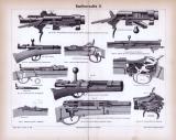 Stich aus 1885 zeigt 10 verschiedene Handfeuerwaffen und...