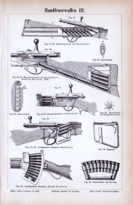 Stich aus 1885 zeigt 5 verschiedene Handfeuerwaffen und technische Illustrationen dazu.