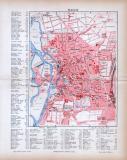 Halle an der Saale Stadtplan, farbige Lithographie aus 1885 im Maßstab 1 zu 15.000 mit Straßenverzeichniss.