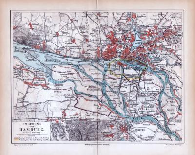 Farbige Lithographie einer Umgebungskarte von Hamburg aus 1885. Maßstab 1 zu 85.000.