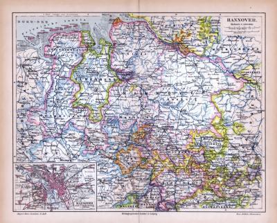 Farbige Lithographie einer Landkarte des Landes Hannover aus 1885. Maßstab 1 zu 1.400.000.