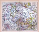 Farbige Lithographie einer Landkarte des Landes Hannover...