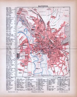 Farbig litographierter Stadtplan von Hannover aus 1885 im Maßstab 1 zu  25.000.