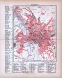 Farbig litographierter Stadtplan von Hannover aus 1885 im...