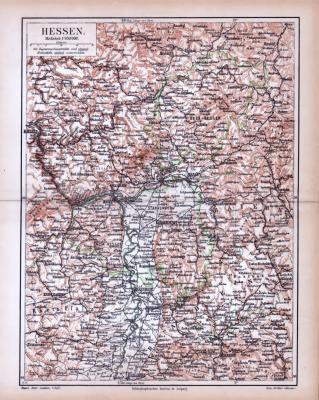 Farbige Lithographie einer Landkarte von Hessen aus 1885 im Maßstab 1 zu 850.000.