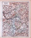 Farbige Lithographie einer Landkarte von Hessen aus 1885...