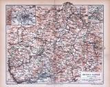 Farbige Lithographie einer Landkarte von Hessen Nassau aus 1885 im Maßstab 1 zu 850.000.