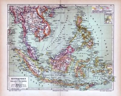 Farbige Lithographie einer Landkarte von Hinterindien und Malaien aus 1885 im Maßstab 1 zu 18.000.000.