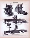 Stich aus 1885 mit Illustrationen zum Thema Hobelmaschinen.