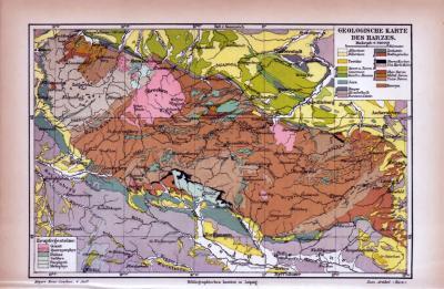 Farbige Illustration einer geologischen Landkarte des Harzes aus dem Jahr 1885.