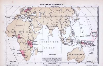 Illustration von einer Weltkarte aus 1885, zeigt Kolonialgebiete europäischer Länder.