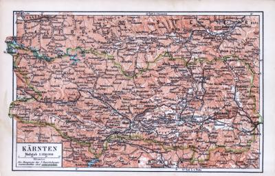 Farbige Landkarte von Kärnten aus 1885 im Maßstab 1 zu 850.000.