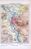 Farbig illustrierte Landkarte der Umgebung von Kairo aus 1885 im Maßstab von 1 zu 200.000.