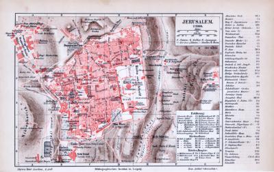 Farbig illustrierter Stadtplan von Jerusalem aus 1885 im Maßstab 1:12.000.