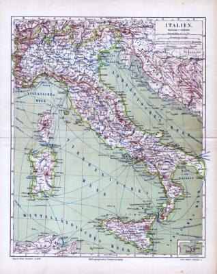 Farbige Illustration einer Landkarte Italiens im Maßstab 1 zu 4.500.000 aus dem Jahr 1885.